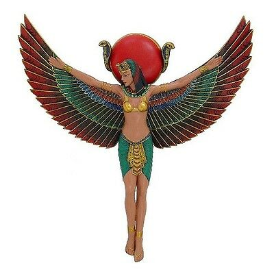 Egyptian Decor Goddess Isis Wall Relief Colorful #11918