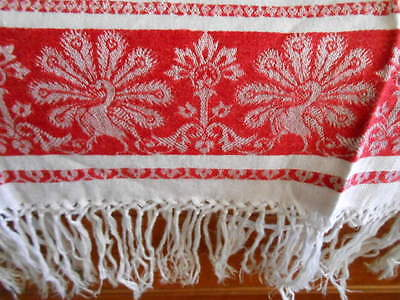 Vintage Turkey Red Damask Linen Towel Long Fringe PEACOCKS SHOW TOWEL For GUESTS