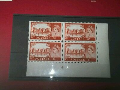 HIGH VALUE 5/- RED  CYLINDER  No 4  BLOCK OF FOUR   U/MINT