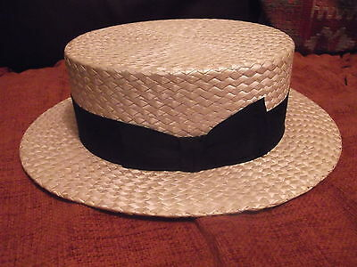 "Straw Boater Pree 1917 Unused Old Stock Size 7 3/8"" Spotless Condition"