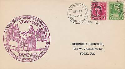 1932 George Washington Federal Hall Station, Ny Cancel Bicentennial Red Cachet