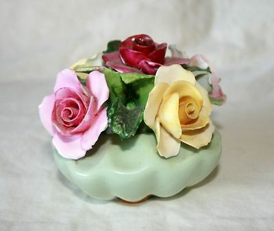 Vintage Adderley Floral Basket, Pink/Yellow/Deep Red Flowers, Green Base, 'H503'