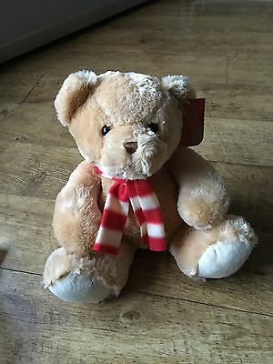 Keel Toys 30cm Super Soft Honey Brown Teddy Bear Red & White Scarf New With Tags