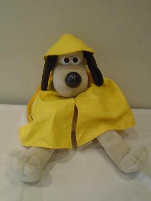 "Wallace and Gromit   ""Gromit""  Back Pack Wearing Yellow Raincoat and Hat"