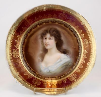 Royal Vienna Hand Enameled Portrait Cabinet Plate of A Woman Amicitia