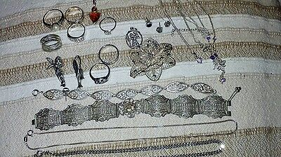 JOB LOT SILVER JEWELLERY  925 RINGS BRACELET BROOCH CHAINS NECKLACES 207g