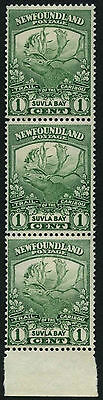 Newfoundland 1919 SG#130, 1c Green Caribou MNH Strip Of 3 #D44682