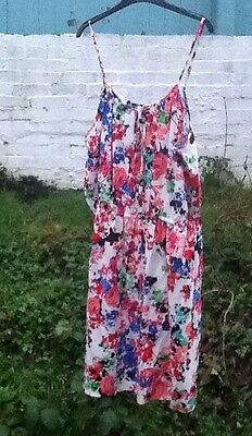 M&S White Red Black Green Floral Sleeveless Summer/Holiday Dress Size 18 NWT
