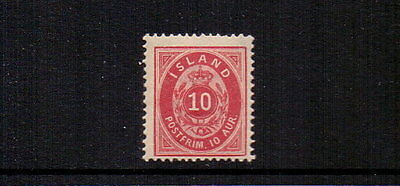 ICELAND 1889 10a MH ( CREASE ) CAT £325