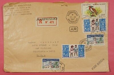 1967 Madagascar Multi Franked Registered Airmail Cover To Usa