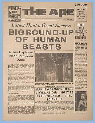 """Vintage - Planet Of The Apes - 1968 - Movie Promotional Newspaper - """"the Ape"""""""