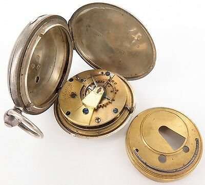 1897 Rotherhams English Sterling Silver Key Wind Pocket Watch, Ticking Strongly