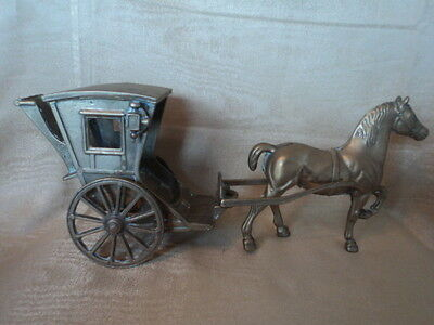 Vintage Large Heavy Brass Cast Hackney Horse And Carriage - Gorgeous Item.