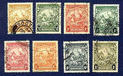 BARBADOS 1938-#193/198-GROUP of 8-GREAT SEAL-USED
