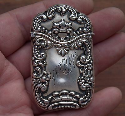 Old Antique Vintage Art Nouveau Sterling Silver Repoussé Match Safe Vesta