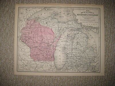 Mint Antique 1858 Michigan Wisconsin Handcolor Map North Peninsula Lake Superior