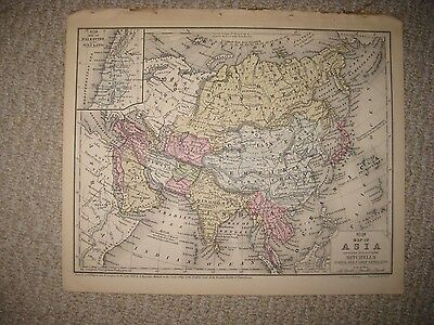 Superb Antique 1858 Asia Handcolored Map India Arabia China Japan Korea Persia