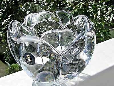 LARGE ROYAL COPENHAGEN Crystal LOTUS VOTIVE CANDLE HOLDER: Original Blue Tag