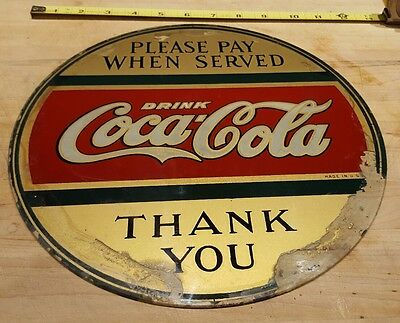 vintage antique please pay when served drink coca cola thank you