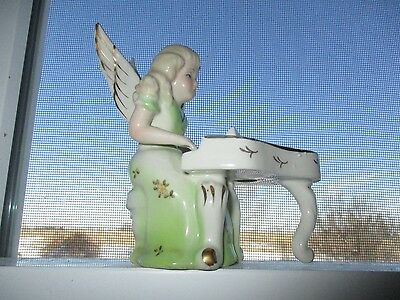 """Vtg Angel Girl Green Playing Piano Mid Century Figurine Stamp """"N"""" Napco Norcrest"""