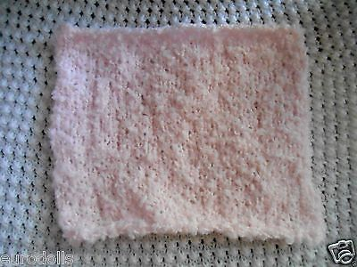 "Mini Hand knitted Blanket-rug 8 in x 9""  pink boucle for small ooak baby dolls"