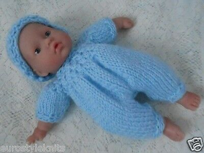 "Doll Clothes Blue Hand knitted 3 pc set for reborn baby boy 11"" fit Berenguer 12"