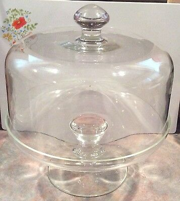 Vintage Clear Glass Cake Plate Dome Lid Server Stand Footed