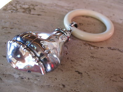 Antique Sterling Silver Baby Rattle Bell Teething Ring