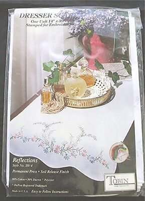 """TOBIN REFLECTIONS #310/4 DRESSER SCARF STAMPED 4 EMBROIDERY 14"""" x 39"""" NIP"""