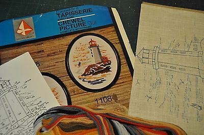 Vintage LIGHTHOUSE Crewel Embroidery kit, Valley Craft 1108