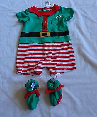 Baby  size 000    CHRISTMAS summer ELF ROMPER outfit with booties  0-3 mths NEW