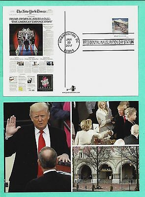DONALD TRUMP 2017 INAUGURATION 4x6 FULL COLOR POSTCARD BY APPEL-WITH FLAG STAMP