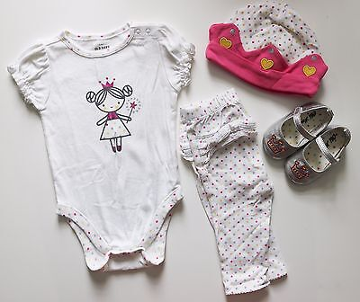 Old Navy Baby Girl 4pc Outfit Size 6 12 Months Princess Set Hat Shoes Spring Lot