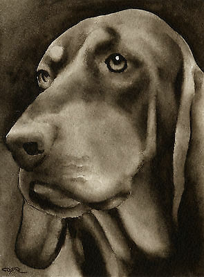 BLACK AND TAN COONHOUND Watercolor ART Print Signed by Artist DJR
