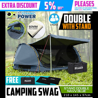 Free Standing DOUBLE Outdoor Camping Canvas Swag Aluminium Poles Tent Navy