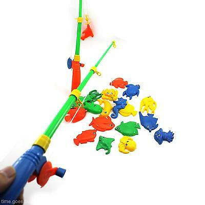 Baby Kid Child Magnetic Fishing 2 Rods + 20 Fish Models Preschool Play Toy Gift