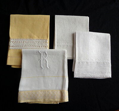 Set of FOUR Antique Linen Hand Towels in Yellow, Cream and White A Superb Group
