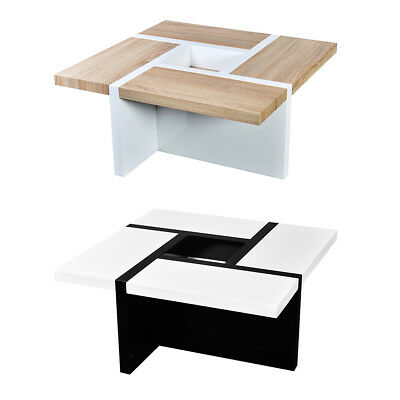 High Gloss Oak and White/White and Black Coffee Table Side Bedside Living Room