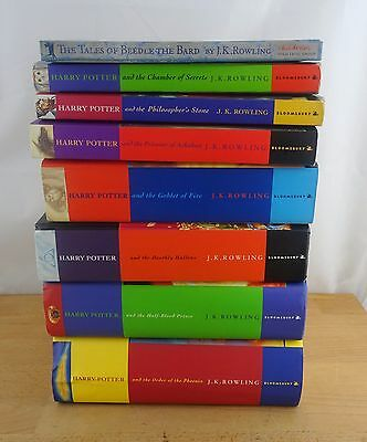 Complete Set of 7 Harry Potter Books by JK Rowling + Extra Hardcover & Paperback