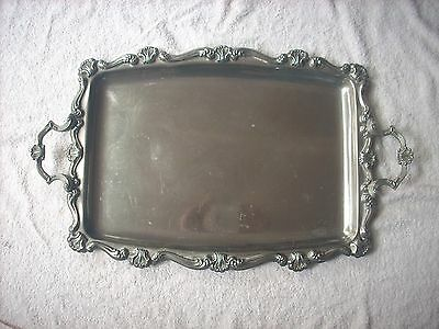 Large Double Handled Silver  Serving Tray 57.6 Cm Long