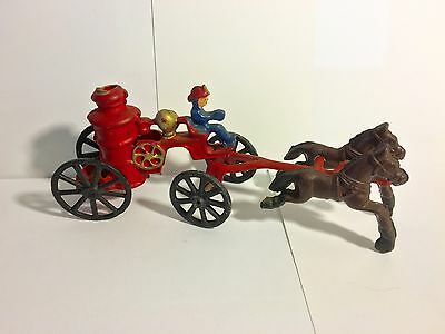 Vintage Cast Iron Toy Horse Drawn Fire Wagon with Fireman