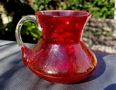 """Handblown Crackle Glass Amberina Pitcher Clear Applied Handle 3"""" Tall X 3½' Wide"""
