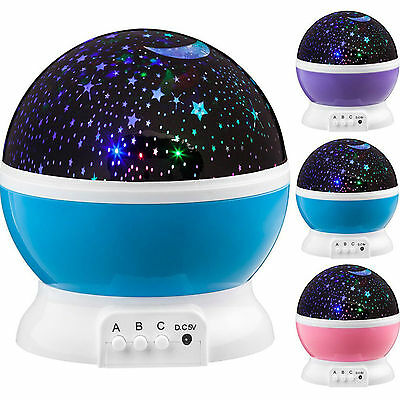 4 LED Starry Night Sky Rotating Projector Lamp Star light Cosmos Master Kid Gift
