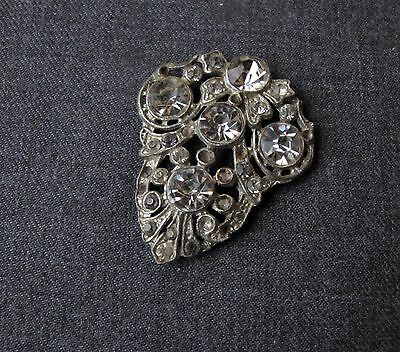 Antique Art Deco Jeweled Rhinestones Silvered Metal Applique For  Jewelry Making