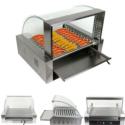 Commercial 30 Hot Dog 11 Roller Grill Cooker Grilling Machine W/ cover CE New