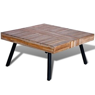 Reclaimed Teak Timber Coffee Side Table Square Vintage Retro Wooden Furniture