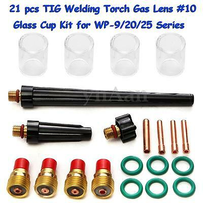 21 pcs TIG Welding Torch Gas Lens #10 Glass Pyrex Cup Kit for WP-9/20/25 Series