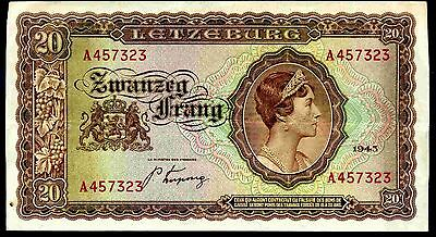 Luxembourg. 20 Francs, A457323, 1943, Fine-Very Fine.