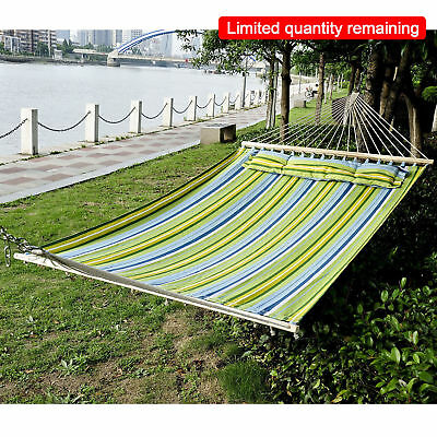 Outsunny 2.1x1.4m Double Wide Outdoor Patio Cotton Hammock Swing Bed w/ Pillow