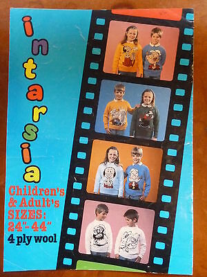 """Knitting Pattern for Simple Sweater, 36-44"""", 8 Popeye Intarsia Designs"""
